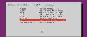Recovery menu in ubuntu