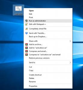 Windows 10 Activation script txt run as administrator
