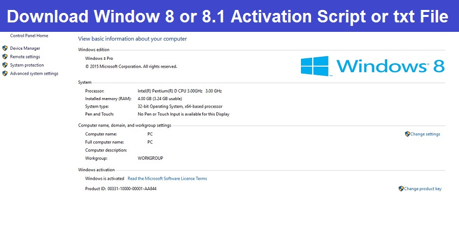 Read more about the article Window 8 or 8.1 Activation Script txt Download – Best Windows 8 Activator